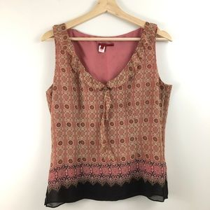 Anthropologie Silk Print Sleeveless Top